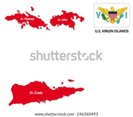 U S Virgin Islands Map With Flag