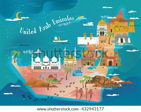 Uae Travel Concept Map Attractions Specialties Stock Vector - Uae map