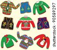 UGLY Christmas Sweaters Party Invitation Clip art - stock photo