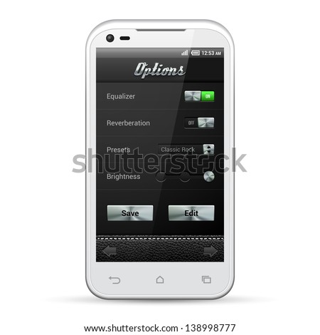 UI Mobile Application Metal Controls Set. White Smartphone 480x800. Audio, Player, Options, Button, Switchers, Drop-Down Box, Select, Icons. Web Design Elements. Software. Vector User Interface EPS10