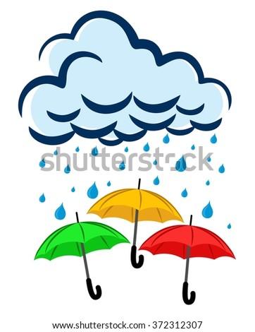 Concept Rainy Season Umbrella Air Cloud Stock Vector ...