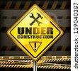 Under construction sign yellow rhombus on black background, vector illustration. - stock vector