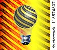 Under construction style vector background with a black and yellow light bulb - stock photo