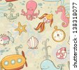 Underwater creatures cute cartoon summer seamless pattern - stock vector