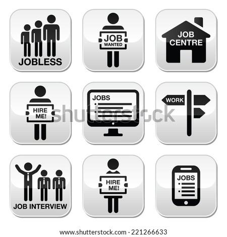 Unemployment Job Searches Vector Icons Set Stock Vector 203568946 ...