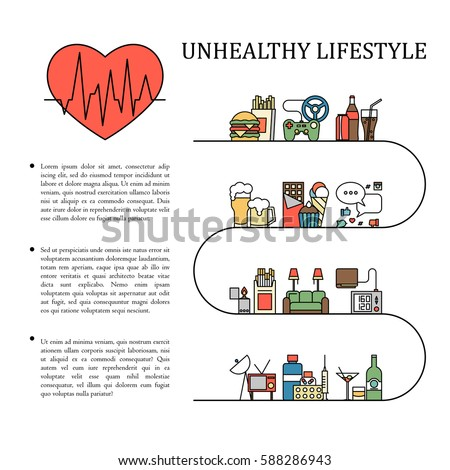 unhealthy lifestyle vector  graphic  rmation in line style with