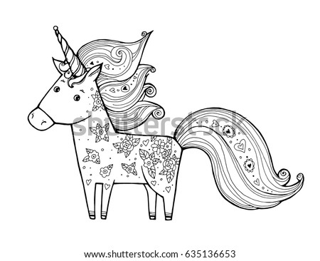 Children Toy Unicorn Coloring Book Adults Stock Vector 567846691 ...