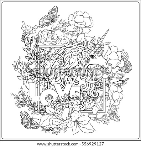 unicorn the composition consists of a unicorn surrounded by a bouquet of roses and word - Unicorn Coloring Pages For Adults