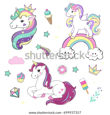 Unicorn Pop Art Collection Stock Vektor 637904098 ...