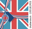 union jack background with ribbon and decorations, no gradients or transparencies - stock photo