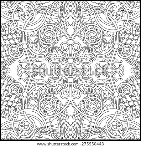 unique coloring pages for adults unique coloring book square page adults stock vector