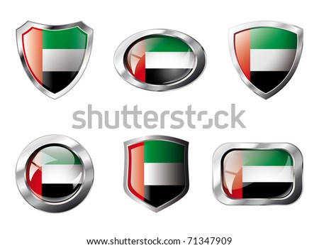 United arab emirates set shiny buttons and shields of flag with metal frame - vector illustration. Isolated abstract object against white background.