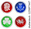 United Kingdom emblem buttons isolated on white background - stock