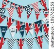 united kingdom party bunting background, with clipping path - stock photo