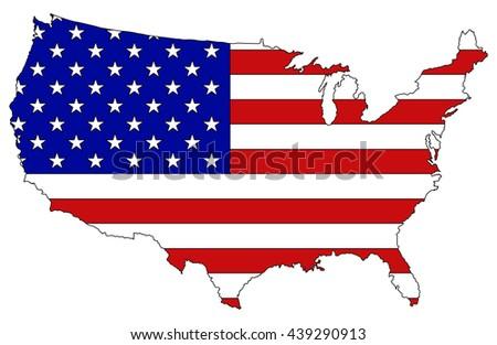 Usa Map Flag Inside Vector Stock Vector Shutterstock - Cartoon map of the us