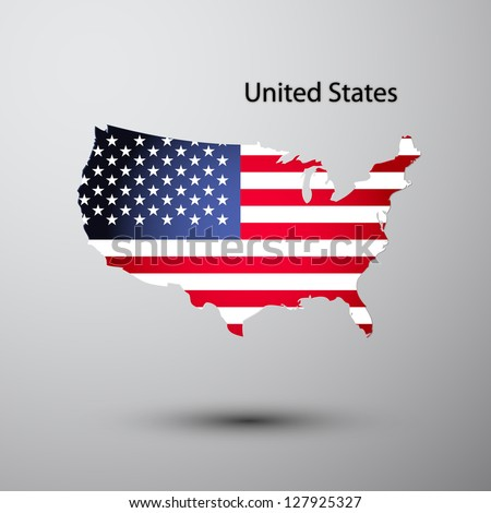 United States flag on map of country