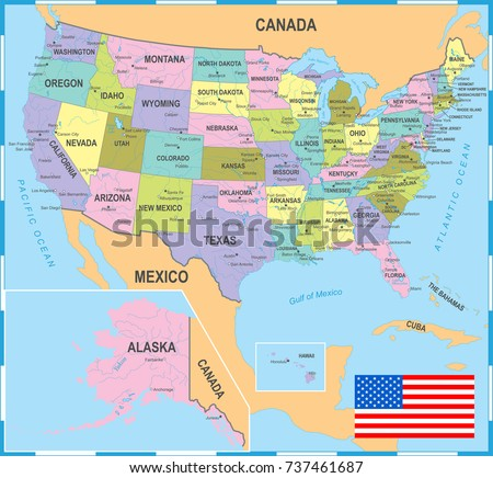Highly Detailed Political Map Usa Including Stock Vector 436353007