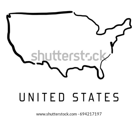 Poland Map Outline Smooth Country Shape Stock Vector - Usa map outline clipart