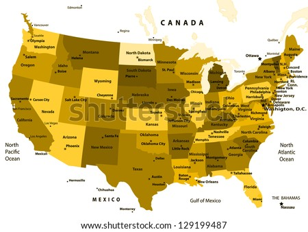 Colorful Usa Map States Capital Cities Stock Vector - Map of united states with capitals and major cities