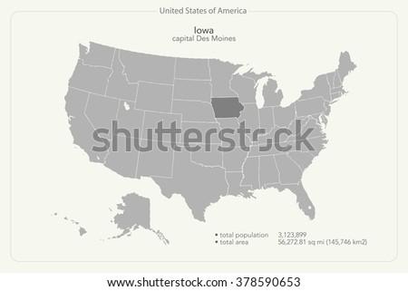 United States America Map Iowa Territory Stock Vector - Iowa map of usa