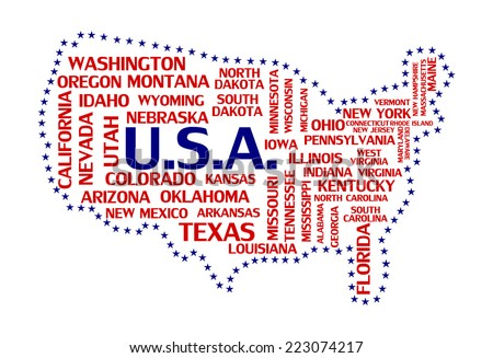 United States Of America Map Tag Cloud Concept Print Usa Countries Word Collage Text Pattern