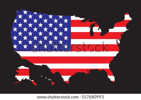 United States America Map Flag Vector Stock Vector 560452105