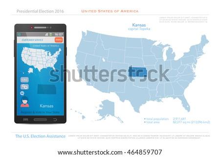 United States America Isolated Map Kansas Stock Vector - Kansas us map