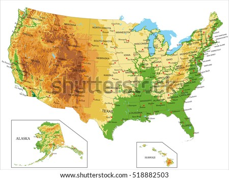 United States Americaphysical Map Stock Vector - Physical map of the us