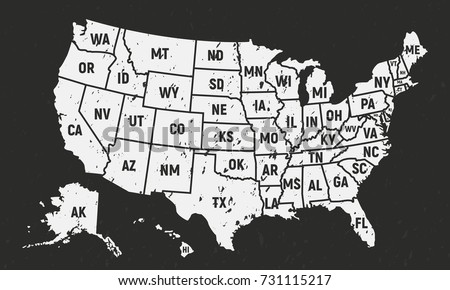 Poster Map United States America State Stock Vector - Map of united states of america