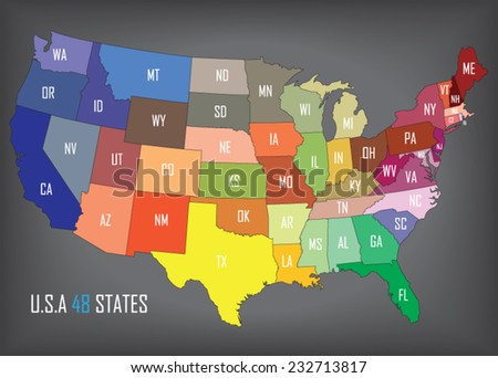 Colorful Usa Map States Capital Cities Stock Vector - Us map of state capitals