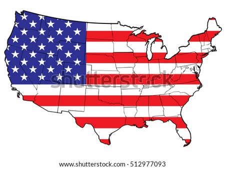 United states vector map with the flag inside
