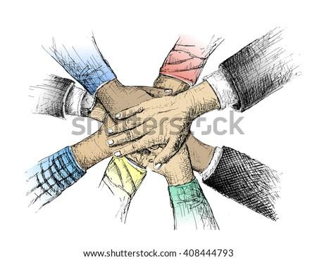 Unity Hands Sketch Vector Illustration Stock Vector