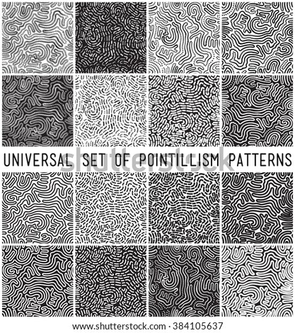Universal geometric striped dotted seamless pattern set. Repeating abstract chaotic wavy lines gradation in black and white. Modern design, pointilism style