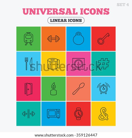 Universal icons. Fitness dumbbell, home key and candle. Toilet paper, knife and fork. Microwave oven. Linear icons in colored squares.