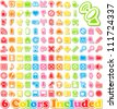 Universal Sticker Icons with shadow -It includes 6 color versions for each icon in different layers - stock photo