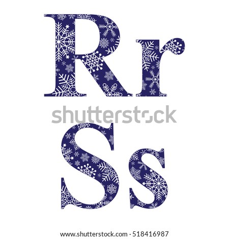 Uppercase and lowercase letters R and S of the English alphabet with winter pattern carved snowflakes, vector