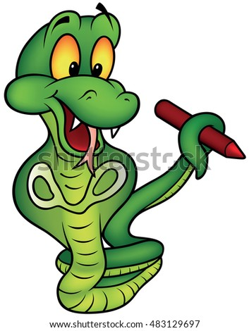 Upright Snake Holding Red Pencil - Colored Cartoon Illustration, Vector