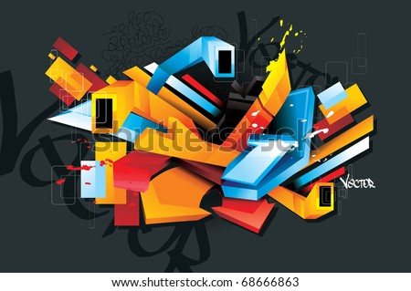 urban graffit 3d vector