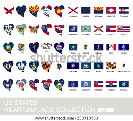 US states set, hearts and flags, 2  version, part 1