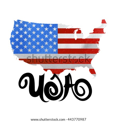 Usa. Abstract map vector watercolor background