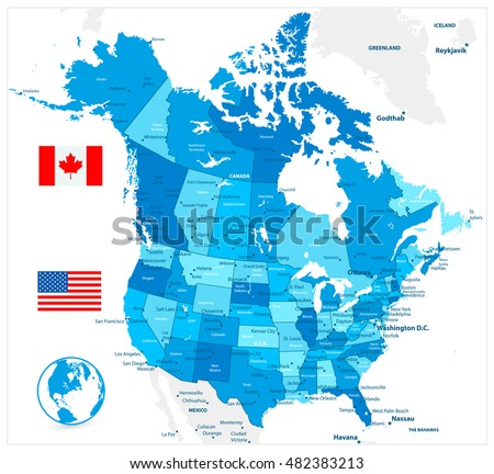 Large Detailed Vintage Color Political World Stock Vector - Large image map of us vector