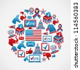 USA election icon set concept in circle shape. Vector file layered for easy manipulation and custom coloring. - stock vector
