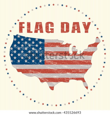 Usa Flag Day Vintage Greeting Card Icon Us Flag In Grunge Effect In The