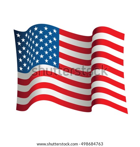 USA flag isolated on white background. Vector illustration