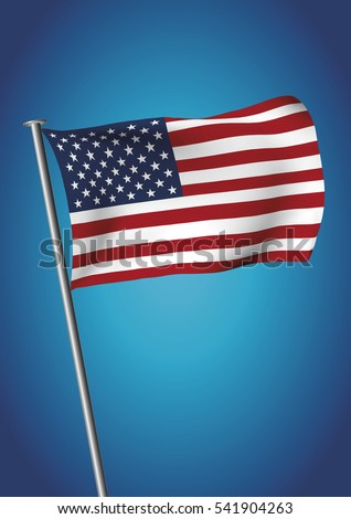USA flag waving on the sky. American flag vector illustration. gradient mesh. EPS 10