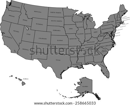 Simplified Vector Map United States America Stock Vector 193344767