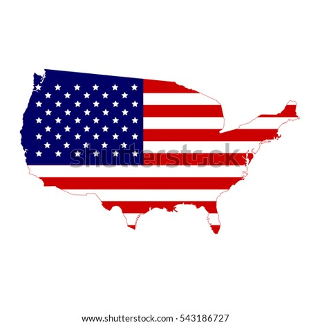 USA map and flag in white background