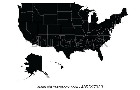 Map United States America Black White Stock Vector - Usa map black