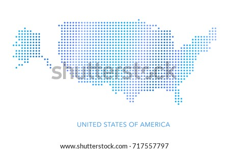 United States America Map Dotvector Eps Stock Vector - Us map dot