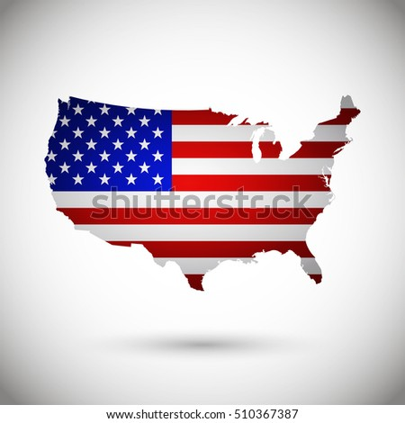 USA Map Flag on gray background. Vector illustration